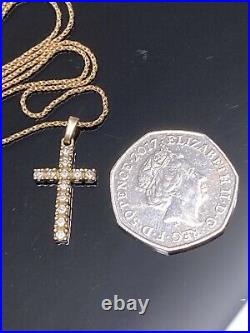 Gorgeous 9ct 375 GOLD CROSS Necklace Pendant On 9ct 375 Gold Rope Chain