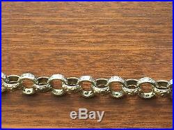 Gorgeous Mens 9CT Gold Heavy Belcher Chain With CZ Stones. 26 Inch. 92.7 Grams