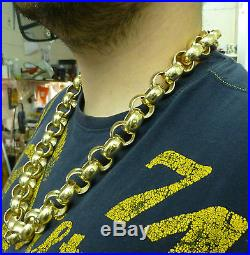 HEAVY 28 INCH 9CT YELLOW GOLD HALLMARKED BELCHER CHAIN 379g 12 OUNCES
