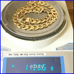 HEAVY 9ct GOLD CURB CHAIN MEN'S SOLID NECKLACE 112.6g 22 1/2