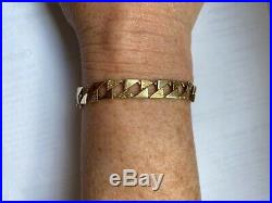 HEAVY 9ct GOLD CURB MEN'S BRACELET 20cm 14g, with safety chain