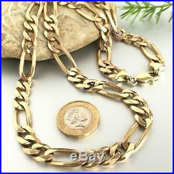 HEAVY 9ct GOLD FIGARO CHAIN NECKLACE 22 SOLID MEN'S 70.4g