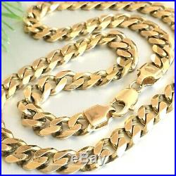 HEAVY 9ct SOLID YELLOW GOLD MEN'S CURB SUPERB CHAIN NECKLACE 20 1/4 68.7g
