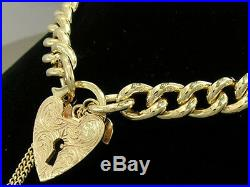 HEAVY Genuine 9K 9ct SOLID Gold CURB Link Heart Padlock Bracelet Curblink 40gr