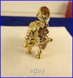 HEAVY Large Solid 9ct Gold ELEPHANT Pendant Hm 3D 5cm 25gr Moveable Gift cx930