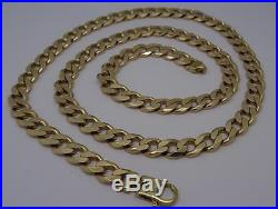 Heavy Mens Solid 9ct Gold 26 Long Curb Chain Necklace- 82 Grams