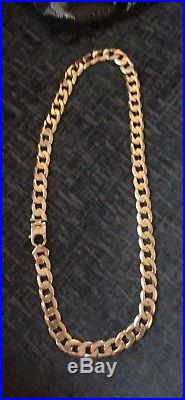 HEAVY SOLID 9CT GOLD GENTS MENS CURB CHAIN 140 gram 26 Inch Long 15mm Wide
