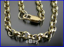 HEAVY VINTAGE 9ct GOLD BELCHER LINK NECKLACE CHAIN 20 inch C. 1980
