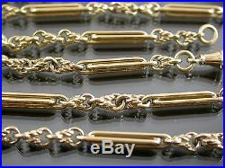 HEAVY VINTAGE 9ct GOLD BYZANTINE & BATON LINK NECKLACE CHAIN 26 inch C. 1970