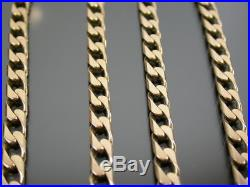 HEAVY VINTAGE 9ct GOLD CURB LINK NECKLACE CHAIN 18 1/2 inch C. 1980