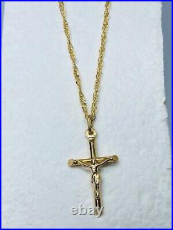 Hallmarked 9K 375 Yellow Gold Crucifix Cross Pendant Necklace Chain 18