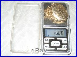 Hallmarked 9ct Gold Large Locket And Chain 15 Grams