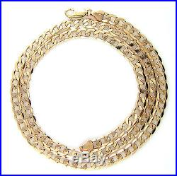 Hallmarked Heavy Solid 9ct Gold Mens Ladies Curb Link Chain Necklace 24 25.3g