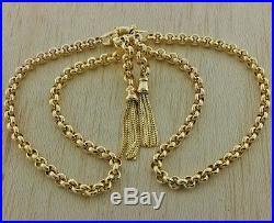 Hallmarked Pre-Owned 9ct Gold Fancy Belcher & Tassel Chain 18.5 RRP £950 (HD25)