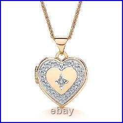 Heart Locket Diamond Yellow Gold 18 Chain Solid Hallmarked