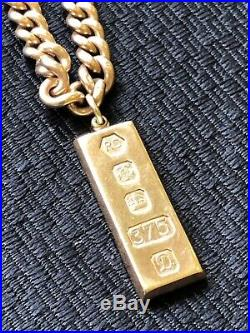 Heavy 30 inch Antique 9ct gold albert watch chain necklace 115gms with ingot