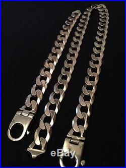 Heavy 9ct Gold 214 gram Curb Chain And Bracelet