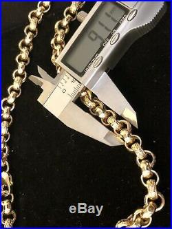 Heavy 9ct Gold 24 Belcher Chain & 9ct Cross Pendant 36 Set Diamonds 130gs