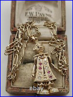 Heavy 9ct Gold Articulated Clown Pendant And Figaro Chain Necklace