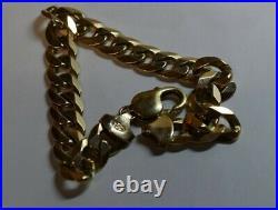 Heavy 9ct Gold Curb Bracelet Well Hallmarked Oz chain 30.6g massive