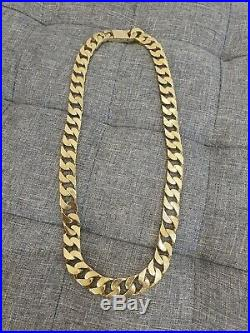 Heavy 9ct Gold Curb Chain 24 Yellow Gold Hallmarked 224g approx