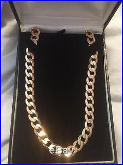 Heavy 9ct Gold Curb Chain Necklace