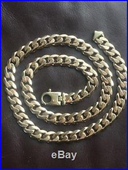 Heavy 9ct Gold Full U. K. Hallmark Gents Curb Chain 124.5 Grams