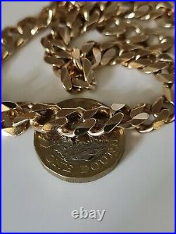 Heavy 9ct Gold Semi Rose Gold Curb Chain Necklace 72.8 grams