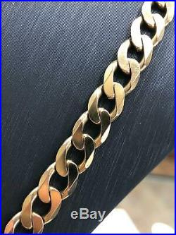 Heavy 9ct Yellow Geniune Gold 8mm Wide Solid Curb Chain Men's / Ladies 24