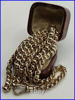 Heavy 9ct Yellow Gold Rollerball (Curb And Belcher) Link Chain Necklace