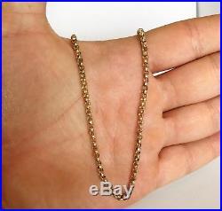 Heavy Antique Victorian 9ct Gold Barrel Clasp Belcher Necklace Chain 9 gram