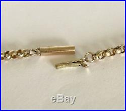 Heavy Antique Victorian 9ct Gold Barrel Clasp Belcher Necklace Chain 9 gram