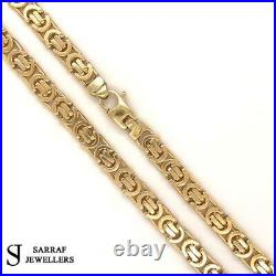 Heavy Byzantine KING 9ct Yellow Geniune Gold 5mm Wide Solid Chain Mens 24 35.6G