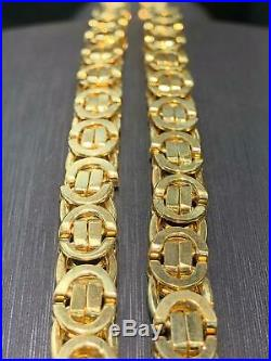 Heavy Byzantine KING 9ct Yellow Geniune Gold 7mm Wide Solid Flat Chain Men's 22