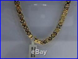 Heavy Byzantine KING 9ct Yellow Geniune Gold 7mm Wide Solid Flat Chain Men's 30