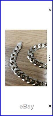 Heavy Flat 20 Curb 9ct Gold Chain 32.2grms/8mm wide