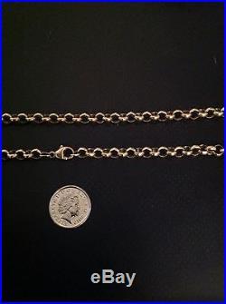 Heavy Hallmarked Vintage Solid 9ct Gold 20 Inch Belcher Neck Chain