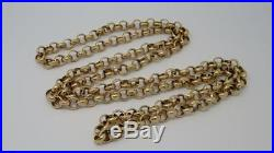 Heavy Mens Unisex Solid 9ct Gold 36 Long Belcher Link Chain- 84 Grams