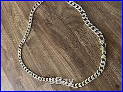 Heavy Solid 9ct Gold Flat Curb Chain 98g 63cm COLLECTION ONLY from BS22