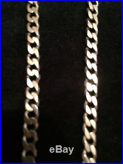 Heavy Solid 9ct Gold Flat Curb Link Neck Chain 31 1/2 Weight 27.5 Grams