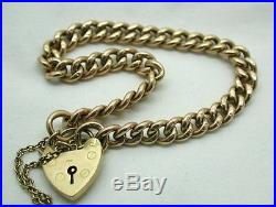 Heavy Solid 9ct Gold curb Link Bracelet With Heart Padlock Fastener
