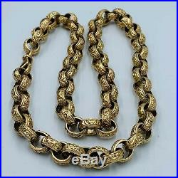 Heavy Solid 9ct Yellow Gold Patterned Belcher Chain 22 Necklace 68.5g #912