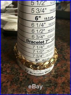Heavy Vintage Men's Gents Solid 9Ct Gold Flat Curb Link Chain Bracelet, 92.2g