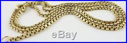 Heavy hallmarked 9ct gold 21.5 inch long yellow gold neck chain weighs 10 grams