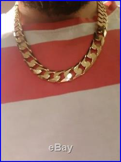 Huge 9ct Gold Heavy Weight Curb Chain 155grams 22inch