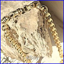 IMPRESSIVE HEAVY 9ct SOLID YELLOW GOLD BELCHER LINK CHAIN 66.8g Length 20 1/4