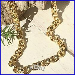 IMPRESSIVE HEAVY 9ct SOLID YELLOW GOLD BELCHER LINK CHAIN 66.8g -Length 20 1/4