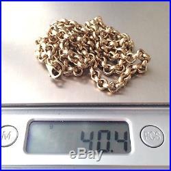 IMPRESSIVE HEAVY 9ct Yellow Gold Belcher Link Chain Vintage 40.4g 21.25 Long