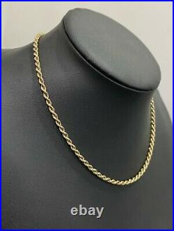 Italian 9ct solid gold rope link Chain Necklace 5.20g / 40.50cm