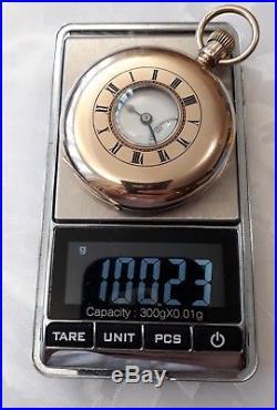 JW Benson 9ct Solid Gold Half Hunter Pocket Watch 1925 VGC+ 9ct Gold chain +Box